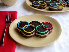 Olympic Rings Nanaimo Bars! Check out more ideas for the 2012 London #Olympics @BrightNest Blog!