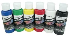 Createx Colors 2 oz Med Gloss Coat Airbrush Paint (Set of Airbrush T Shirts, Airbrush Art, Airbrush Makeup, Arts And Crafts Supplies, Art Supplies, Airbrush Supplies, Lure Making, Fluorescent Colors, Air Brush Painting