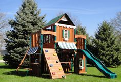 DIY swingset idea - this one is a bit more than we can do, but has some great ideas!