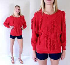Reserved for #Nadine vtg 80s cherry red #AVANT GARDE Loopy #Fringe SWEATER os bat,  View more on the LINK: 	http://www.zeppy.io/product/gb/3/249397153/