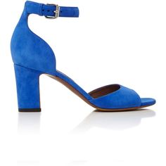 Tabitha Simmons Jerry Suede Sandal ($645) ❤ liked on Polyvore featuring shoes, sandals, royal blue shoes, electric blue shoes, suede shoes, tabitha simmons shoes and suede sandals