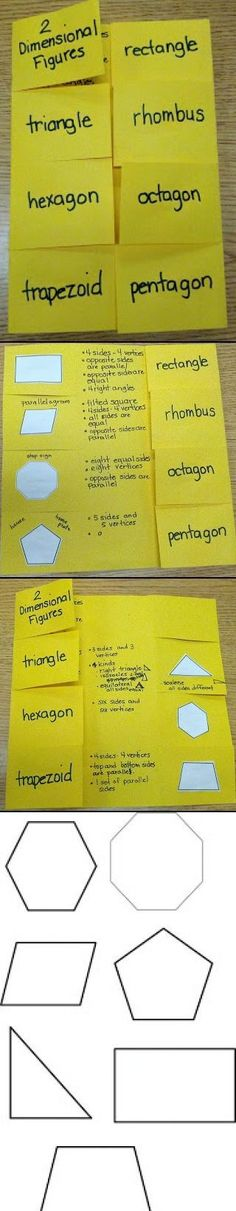 Teaching 2 Dimensional Shapes - Interactive Notebook. FREE download for shapes used found on this teacher site.