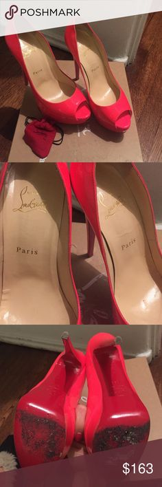 Coral Louboutin mismatched Right 9.5 and left 8.5 Coral Christian Louboutin lady peep mismatched Right 9.5 and left 8.5 I wore them with shoe insoles and they are great Christian Louboutin Shoes Heels