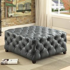 $460 - Furniture of America Karlie Contemporary Square Tufted Bonded Leather Ottoman