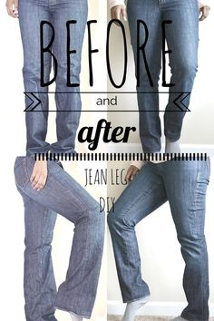 DIY Jeans Refashion: Flares to Straight Leg. Super easy tutorial. Make your own skinny jeans with this tutorial. Modify jeans from flare to straight or bootcut to skinny jeans. Minimal sewing experience needed! Original jeans hem tutorial too!