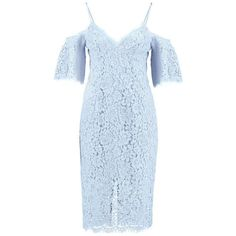 Blue V-neck Cold Shoulder Spaghetti Straps Bodycon Lace Dress (60 CAD) ❤ liked on Polyvore featuring dresses, bodycon cocktail dress, v neck lace dress, blue dress, bodycon dress and body con dresses