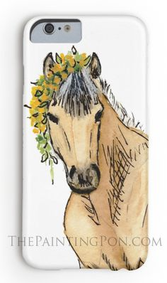 CUTE horse lover phone case - norwegian fjord pony equestrian art painting iphone or samsung galaxy type phone cases.