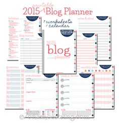 Free Printable 2015 Blog Planner for bloggers that includes week in review, post…