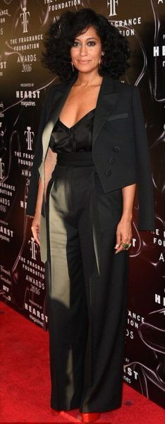 Hot! Or Hmm?…: Tracee Ellis Ross's Fragrance Foundation Awards Paule Ka Pre-Fall 2016 Black Double-Breasted Suit and Gucci 'Angel' Red Platform Pump