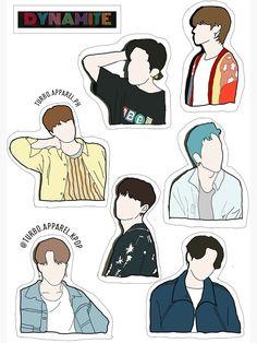 """Dynamite BTS sticker"" Sticker by turboapparel | Redbubble Stickers Kawaii, Preppy Stickers, Pop Stickers, Free Printable Stickers, Griffonnages Kawaii, Bts Poster, Bts Book, Bts Polaroid, Bts Aesthetic Pictures"