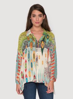 Johnny Was Collection Printed Oversize Button Down Blouse