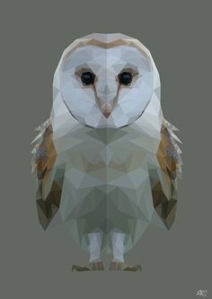 Barn Owl. Digital Vector portrait of an owl. white. face. beak.feathers, wings. Low Poly. vector. geometric. photoshop. big eyes. small. animals. nature. white. brown. love. art. illustration.
