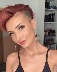 As many people know, undercut hairstyle today became one of a very popular style among women. Undercut Hairstyles Women, Short Hair Undercut, Haircut For Thick Hair, Short Pixie Haircuts, Undercut Women, Style Short Hair Pixie, Super Short Hairstyles, Short Womens Hairstyles, Short Short Hair