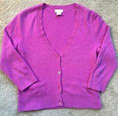 J.CREW Women's Purple/Pink 100% CASHMERE Button Cardigan ~EUC~ Size Medium #JCrew #Cardigan