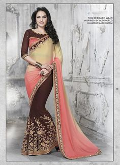 Pecan & Dark Cream Chiffon Saree ,Indian Dresses