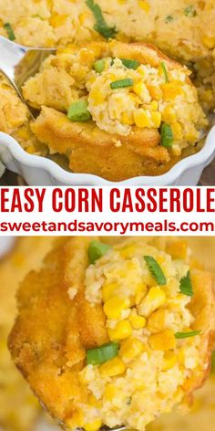 Corn Casserole is made with only 7 ingredients and is super fluffy, rich, and creamy. #corn #casserole #thanksgiving #sidedish #sweetandsavorymeals