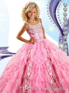 Toddler Pageant Dresses 2015 Pink Girl'S Pageant Dresses Princess Ruffle Beaded Sequins Tiered Organza Girl'S Formal Dresses Rg6454 Glitz Dresses From Dress_beautiful, $55.29| Dhgate.Com