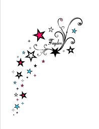 Image result for stars *swirls birds* back over the shoulder tattoo* kids names