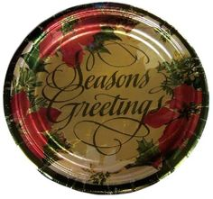 """Custom & Unique {10.5"""" Inch} 8 Count Multi-Pack Set of Large Size Round Circle Disposable Paper Plates w/ Seasons Greetings Festive Christmas X-Mas Celebration Event """"Gold, Red & Green Colored"""""""