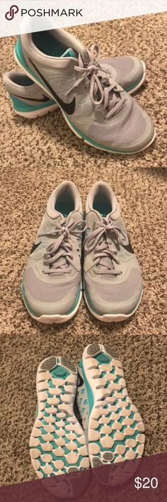 NIKE Flex Shoes (Size 11) Barely worn NIKE Flex Running shoes! Size US women 11. Light grey and teal color. No rips in materials or tears in seams! Can be bundled!🛍 Coming from a smoke free home! (Can take more photos per request!📸) Nike Shoes Athletic Shoes