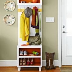 You could create a storage bench and coat hook combo, from Lowes.