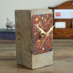 Small desk clock salvaged oak and rusty beach by Reclaimed Time