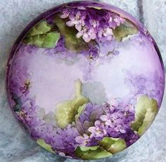 """Limoges hand painted violets 8"""" porcelain dresser box from our collection."""