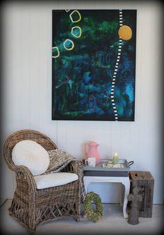 Maleri i indretning med kurvemøbler Stort abstrakt maleri str. 90 x 120 cm. Abstract Paintings