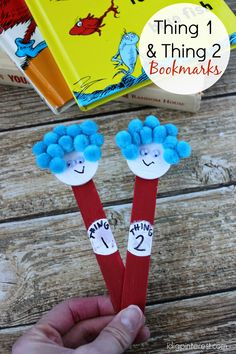 Dr. Seuss Kids' Craft: Thing One and Thing Two Bookmarks.  The Cat in the Hat is a children's book favorite at our house!  These are so fun!