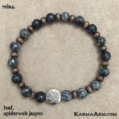 RELAX: Spiderweb Jasper + Bamboo + Leaf Yoga Mala Bead Bracelet