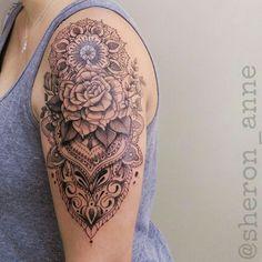 #rosetattoo #ornamentaltattoo #mandalatattoo #mandala #dotworktattoo #fineline #finelinetattoo #BrazilianTattooArtists #femaletattooartist #SheronAnne
