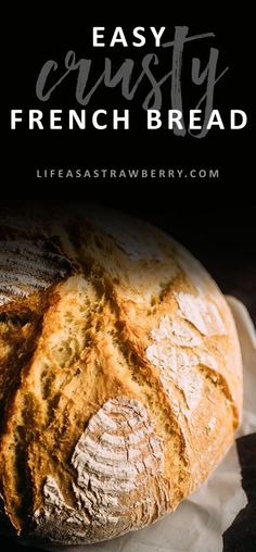 Easy Crusty French Bread - Life As A Strawberry Easy Crusty French Bread – This easy dutch oven bread recipe is sure to be a hit! Ready quickly i Artisan Bread Recipes, Dutch Oven Recipes, Quick Bread Recipes, Easy Dinner Recipes, Easy Meals, Yummy Recipes, Bakery Recipes, Kitchen Recipes, Cooking Recipes