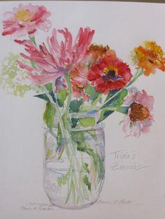 Zinnias in a Mason Jar Original Watercolor. $30.00, via Etsy.