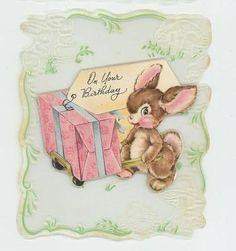 VINTAGE 1940s BABY BUNNY RABBIT TINY MINIATURE ART PRINT BIRTHDAY GREETING CARD | eBay