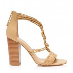 Desiree Weave T-Bar Block Heels Camel - Womens Fashion   Forever New