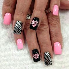 Nail art is a very popular trend these days and every woman you meet seems to have beautiful nails. It used to be that women would just go get a manicure or pedicure to get their nails trimmed and shaped with just a few coats of plain nail polish. Valentine's Day Nail Designs, Best Nail Art Designs, Colorful Nail Designs, Acrylic Nail Designs, Fingernail Designs, Nails Design, Heart Nail Designs, Wild Nail Designs, Nail Designs Easy Diy