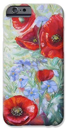 Forget-me-not With Red Poppies IPhone 6 Case for Sale by Elena Antakova Art Prints For Home, Home Art, Red Poppies, Blue Flowers, Original Paintings For Sale, Forget Me Not, Iphone 6 Cases, Poppy, Grass
