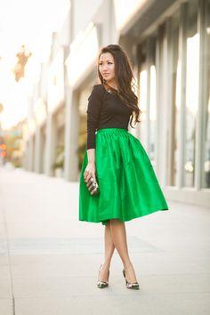 Spring Garden :: Emerald full skirt & Floral pumps