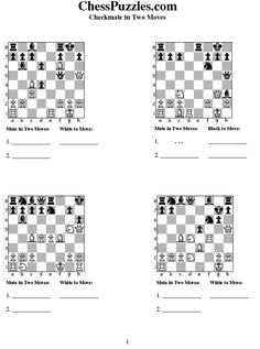 Checkmate Problems Worksheets | Chess Puzzles!