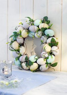"Eierkranz ""Bella"" zum Hängen und Legen Easter Crafts, Floral Wreath, Wreaths, Autumn, Halloween, Big Shot, Home Decor, Jute, Home And Garden"