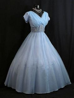 Vintage 1950's Baby BLUE Beaded Chiffon Party Prom Dress
