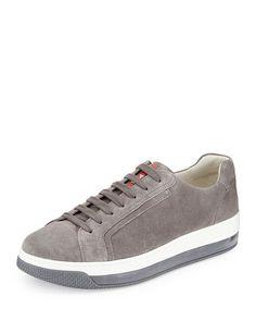 Prada Levitate Men's Suede Low-Top Sneakers - Gri #prada #pradaturkiye #pradafiyat #orjinalprada