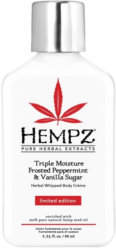 Limited Edition Hempz Triple Moisture Frosted Peppermint & Vanilla Sugar Herbal Whipped Body Crème is enriched with 100% Pure Natural Hemp Seed Oil and fortified with our exclusive all day Triple Moisture Complex.