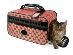 Cat Travel Carrier Cat Travel Carrier are Inspired by antique trunks utilized for augmented treks by stagecoach, prepare or steamships. The texture is produced using reused plastic jugs, bamboo rafters and a natural cotton retentive liner.