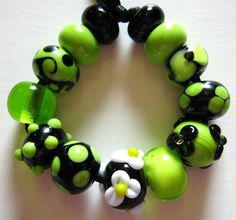 Green Lampwork BeadsWickedly Green  and Black by Moonflowerbeads, $18.00