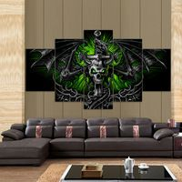 5 Pieces Game Skull Dragon Devils Reaper Modern Home Wall Decor Canvas Picture Art HD Print Painting On Canvas For Living Room Oil Painting On Canvas, Canvas Wall Art, Wall Art Prints, Naruto Painting, Toile Photo, Skull Wall Art, Living Room Canvas, Dragon Pictures, Living Room Pictures