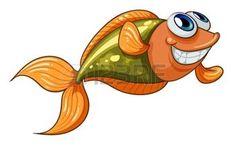 Illustrazione di un piccolo pesce sorridente su uno sfondo bianco photo