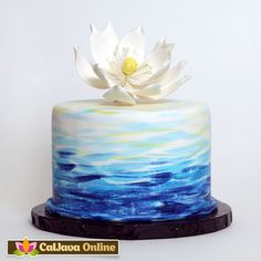 Large Lotus Flower (Water Lily) from gumpaste cake topper perfect for cake decorating fondant cakes. CaljavaOnline.com