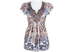 On-trend styling is offered in this top by OneWorld featuring a sublimated print and embellished lace at the neckline.