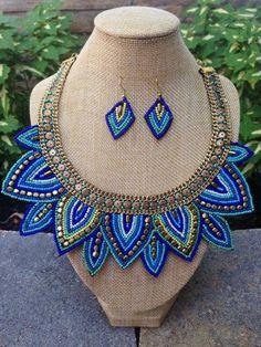Blue Seed Bead Bib Necklace